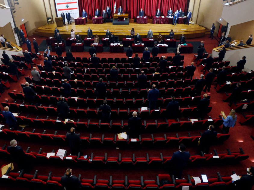 Lebanese members of Parliament attend a legislative session in a theatre hall in UNESCO Palace building in Beirut